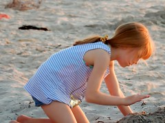 Sunset Hair Busy With Sand Castle (mikecogh) Tags: glenelg sunset beach girl orange ginger sandcastle play ponytail