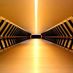 Orange crush (Arni J.M.) Tags: lines pattern walkway bridge orangecrush symmetry adamsplazabridge crossrailplace onecanadasquare canarywharf london england uk