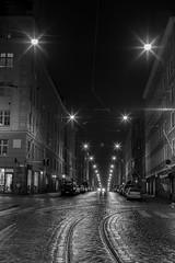 Liisankatu (Antti Tassberg) Tags: glökiwalk photowalk 50mm bw kaupunki yö longexposure katu blackandwhite city cityscape dark lens lowlight monochrome night nightscape prime street urban helsinki