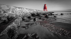 South Shields Selective Colour - Jan 2017 (kevaruka) Tags: beta south shields geordie north the eat newcastle sea sun sunshine sunny day early morning winter kevin frost 2017 january colour colours composition flickr front page thephotographyblog uwa ultra wide angle canon eos 5d mk3 70200 f28 is mk2 ef 1635 5d3 5diii red green beach seaside blue sky rocks lighthouse color colors england great britain outdoor serene