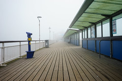 _DSC2678 Lonely Seagull in the Fog. (Seaton Carew.) Tags: fog pier weather