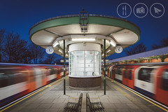 Go/Go [Explored] (Adrian Court LRPS) Tags: artdeco benches blue bluehour clocks lights london platform red station tfl train transportforlondon tube underground waitingroom bcc072017