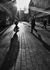 Sunlight & Shadows (tcees) Tags: blackandwhite monochrome churchalley liverpool churchstreet shops primark street people sunlight shadows trees bluecoatchambers fujifilm x10