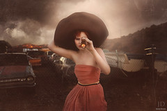 The Search ({jessica drossin}) Tags: light sunset portrait woman sun art cars texture abandoned girl look hat mystery modern clouds trash boats photography search garbage dress wind fine telescope flare wreckage jessicadrossin wwwjessicadrossincom jdbeautifulworldcollection