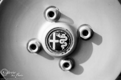 1976 Alfa Romeo GTV Campagnolo wheel. (Templar1307 | Galerie des Bois) Tags: bw france analog blackwhite kodak gtv canona1 alfaromeo ariege mirepoix tmax100 alfetta campagnolo midipyrenees