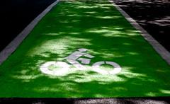 Green Bicycle Lane & Shadows (Orbmiser) Tags: road summer bicycle oregon emblem portland nikon shadows symbol lane asphalt d90 55200vr