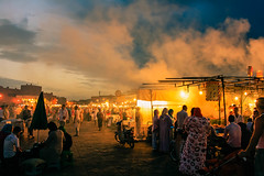 Busy Outdoor Market at Dusk (Image Catalog) Tags: sky people night clouds lights humanity market outdoor dusk crowd busy nighttime bulbs marketplace stalls shoppers humans publicdomain