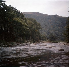 img317 (foundin_a_attic) Tags: 1970s glass slide 77 70s fashion river green stones trees water hills