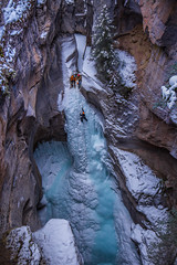 Maligne Canyon Ice Climbing (robertdownie) Tags: canada frozen mountains winter cold blue rock snow climbing waterfall ice canyon alberta rockies national park adventure rope rocky jasper alpine climbers athabasca river maligne medicine lake