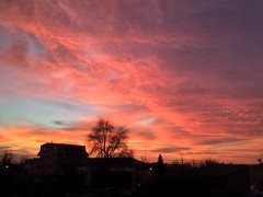 Another day faded (Camy487) Tags: fire blue red pink colors building trees sky nature clouds sunset sun