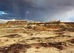 Lighting Over the Bisti Badlands (Rob Kroenert) Tags: bisti badlands bad lands northern new mexico nm lightning bolt strike storm thunderstorm clouds dark thunder rain rock formations usa