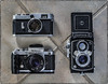 Film Times Three (NoJuan) Tags: cameraporn cameraportrait cameras film filmcamera m42 m42lens