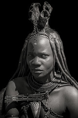 Himba Woman B&W Version (carlos.aantunes) Tags: black white himba people village african afica namibia background travel pure young bw