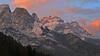 Sunset - Framont and Moiazza mountains (Dolomites) (ab.130722jvkz) Tags: italy veneto alps easternalps dolomites civettagroup mountains sunset snowfall winter
