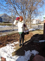 A Bright, Cold Winter Day In Wisconsin (Laurette Victoria) Tags: winter wisconsin milwaukee leggings boots coat auburn laurette woman