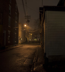 365-21 (• estatik •) Tags: 36521 365 21 january212017 jan sat saturday 12117 usa lambertville nj new jersey hunterdoncounty churchgeorge street alley fog rain wet humid dark longexposure moody misty lonely alone depressed anguish torment dank quiet telephone pole streetlight light lights darkness nocturne wistful hopelessness bleak future lost city urban historic