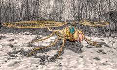Arrival (Jorden Esser) Tags: kunstwerkplaatsarnhem nswandeling parklingezegen dragonfly hiking hss sculpture sculpturegarden selectivecolor selectivecolours sliderssunday snow trees alien nederlandvandaag