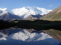 """Peak Lenin reflected in a lake • <a style=""""font-size:0.8em;"""" href=""""http://www.flickr.com/photos/41849531@N04/19832722074/"""" target=""""_blank"""">View on Flickr</a>"""