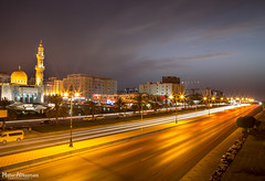 Traffic Trails! (mahernaamani) Tags: road street longexposure bridge blue light sunset red white bus cars colors beautiful night canon wow relax nice colorful long exposure view traffic nest cloudy main low tripod country trails mosque shutter lighttrails lovely oman muscat longshutter masjid 6d lowshutter traffictrails          alkhuwair mylovelycountry    zawawi  canon6d    wizarat myoman