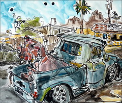 Pig in a Chevy (Kerry Niemann) Tags: apachejunction chevytruck inkandwatercolordrawing