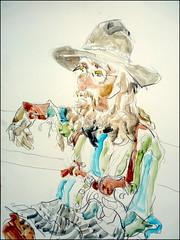 Farkel Frump2015 (Kerry Niemann) Tags: cowboyactor apachejunction goldfieldghosttown inkandwatercolorportrait