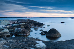 Vuosaari Harbour (Tuck Happiness) Tags: ocean longexposure morning autumn sea water finland landscape helsinki rocks harbour baltic vuosaari 2015