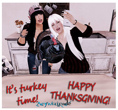 BEING THANKFUL... (aeyanna.attitude) Tags: family friends food turkey pose blog sl blessing eat secondlife blogging thankful celebrate happythanksgiving aeyattitude blondefashionista