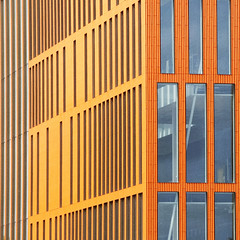 Echo chambers (Arni J.M.) Tags: architecture building echochambers orange blue lines walls windows barcode malmo malmö scania sweden