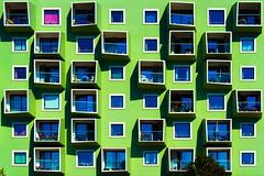Greenhouse (Maerten Prins) Tags: denmark denemarken kopenhagen copenhagen orestad ørestad modern architecture green balconies pattern skew facade geometry square squares building purple