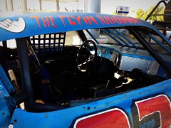 #TheFlyinHawaiian (Σταύρος) Tags: stockcar 03 car flyinmo vacaville bluecar auto gasstation dented nowindows dents edgibber inmemoryof 88