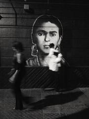 Frida Kahlo. (isalittlelamb) Tags: fridakahlo santiago chile travel vacaciones espanhol world artpop art poem poemas pinturas picture amatour amateurphoto amazing america latina artista artist paint vulto shadow view seemyworld cultura culture americana spanish girl power kahlo frida blackandwhite bw black white arte people moment street artonthestreet