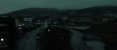 Bethlehem (Derek Mindler) Tags: cinematography dp dark dreary melancholy underexposed dim low light blackmagic production camera 4k screen grab still frame widescreen 235 reference beautiful natural water river town city cityscape skyline rainy rain sad teal color grading composition framing