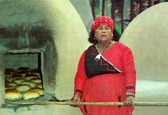 Tigua Indian Woman (~ Lone Wadi ~) Tags: tiguaindian nativeamerican americanindian bread baking baker americansouthwest retro 1980s cooking