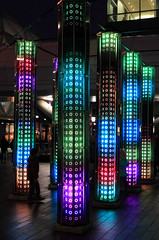 IMG_1811 (Kathi Huidobro) Tags: winterlight mirrors lighting led london canarywharf colour lightingdesign lightinstallation lightart columns interactive