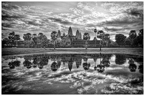 Black & White version of the famous Ankor Wat lake view