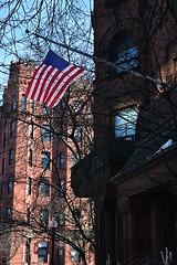 Old Glory (AntyDiluvian) Tags: boston massachusetts backbay newburystreet flag oldglory americanflag apartmentbuilding