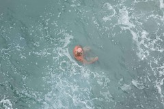 Old Man Sqimming Cinque Terre Italy Mediterranean Sea Monterosso al Mare Hiking Trail 2015 Europe Trip August 15, 2015 143 (stevendepolo) Tags: from above old sea italy man swimming cinqueterre mediterraneansea monterossoalmare 2015europetrip 201europetrip