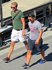 Great shot of two buddies! (ManontheStreet2day) Tags: summer male guy smile sunglasses belt legs tshirt hunk crotch twink sneakers nike shorts stud bulge