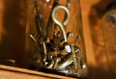 Junk jar (Megan Colleen) Tags: old glass screws hardware tools storage nails jar handyman