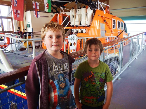 Aiden & Rhys with the Swansea lifeboat
