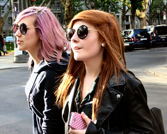 Best Friends (Street Photography Addict) Tags: street city color hairdye sunglasses close candid strangers streetphotography trendy teenager