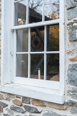 blacksmith window reflection (MarkNelsonJr84) Tags: road county old autumn history fall mill water leaves rural md october village farmers jerusalem country maryland falls jericho quaker gunpowder harford 2015