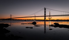A Hint of Orange (Kyoshi Masamune) Tags: uk sunset panorama scotland wideangle forth waterreflection firthofforth forthbridge southqueensferry northqueensferry forthroadbridge ultrawideangle forthreplacementcrossing queensferrycrossing kyoshimasamune