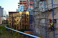 Upkeep (MPnormaleye) Tags: city nyc urban brick stone workers construction manhattan steel patterns neighborhood warehouse walkway utata scaffold highline