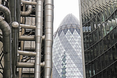 30 St. Mary Axe (Garrett Rock) Tags: city uk greatbritain england urban blackandwhite bw london skyline architecture contrast skyscraper britain contemporary modernism officebuilding bank architectural september foster normanfoster highrise tall rogers wealthy gherkin insurance 30stmaryaxe lloyds insideout bold banking limestreet cityoflondon finance hvac lloydsbuilding stmaryaxe richardrogers arup sirnormanfoster lloydsoflondon insideoutbuilding