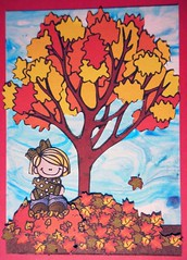 ATC1295 - Autumn is ... sitting on a pile of colorful leaves (tengds) Tags: blue autumn red tree girl yellow atc artisttradingcard collage autumnleaves card artcard papercraft shavingcream handmadecard pileofleaves sittinggirl vividstriking tengds