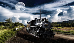 Fantasy Landscape (roizroiz) Tags: moon clouds composition train photoshop wonderful landscape creativity tren photography photo interestingness amazing image surrealism creative dramatic surreal luna fantasy fantasia imagination panama tomorrow yesterday today tones creatividad mothernature fotomontaje themoon creativo imaginacion i500