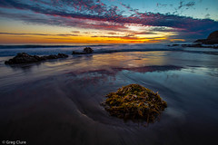 Tranquil Twilight (Greg Clure Photography) Tags: ocean california santa sunset seascape mountains reflection beach star coast photo twilight tide low southern coastal monica national kelp area recreation starburst lansscape