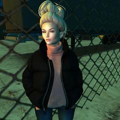 Fed up of trying to break free~ (samlittleboots) Tags: secondlife avatar virtualworld 3d cute sexy wild urban casual jacket fashion winter autumn messyhair besom maitreya pixicat lelutka