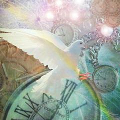 Count Down To 2017 - Wishing You Peace And Happiness! (virtually_supine) Tags: newyear2017 watches whitedove dandelionclock creative photomanipulation digitalartwork layers textures collage montage lensflare photoshopelements13